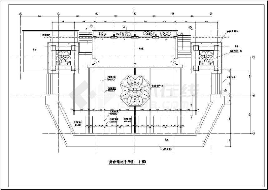 某室外舞台建筑设计图纸(全套,标注详细)