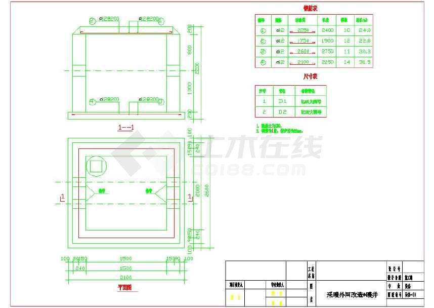 室外供暖土建井配套管道井cad设计图下载obdcad图片