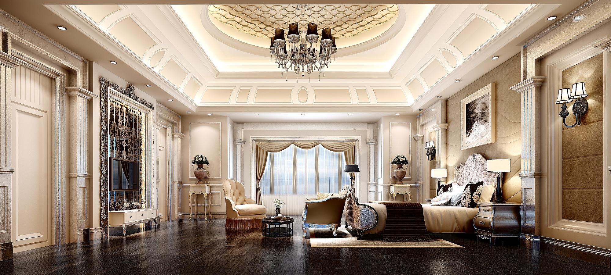 现代欧式豪华精装卧室3d模型下载