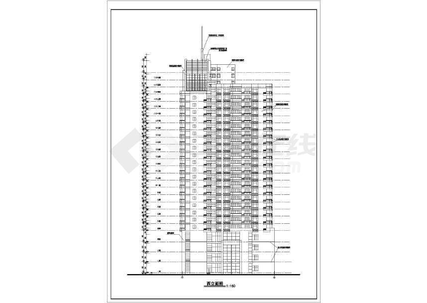 某26层高层办公楼建筑设计cad全套图纸-图1