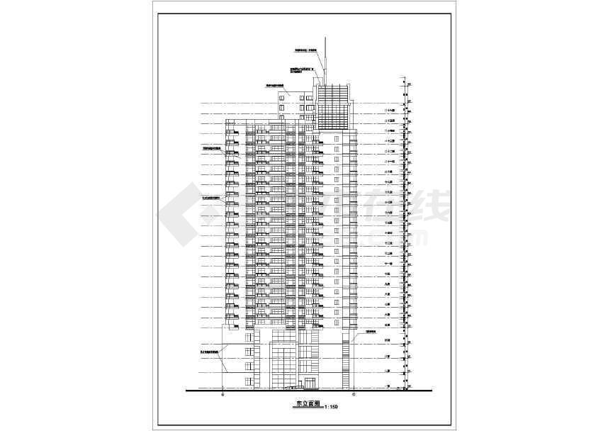某26层高层办公楼建筑设计cad全套图纸-图2