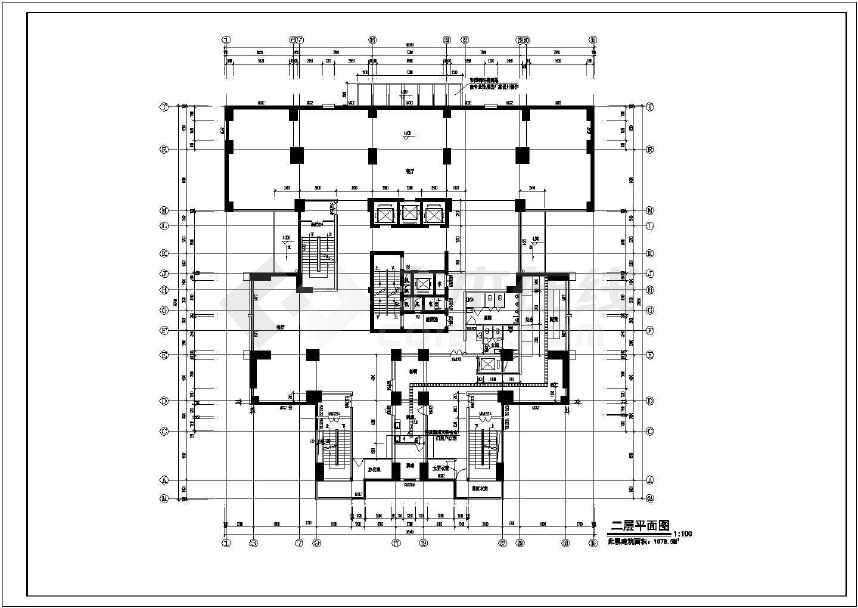 某26层高层办公楼建筑设计cad全套图纸-图3