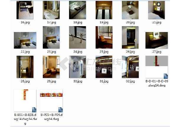 现代风格三居室装修设计及三室两厅家装装修施工cad图(20套精装修设计图、含装修效果图)-图2