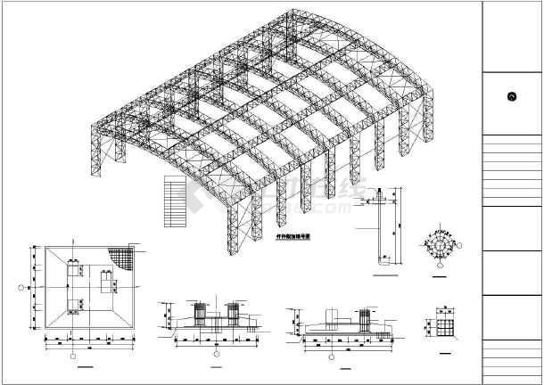 某50米跨图纸管空间钢结构施工图_cad桁架下2007cad怎么打开图纸图片
