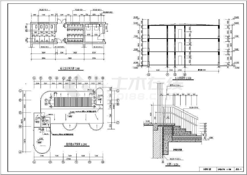 三层框混结构幼儿园建筑设计cad图纸(含工程量怎样复制cad文字上图纸的图片
