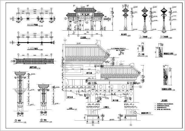 非常详细的牌楼古建筑CADv牌楼施工图(标注齐cad将参数化怎么块图片