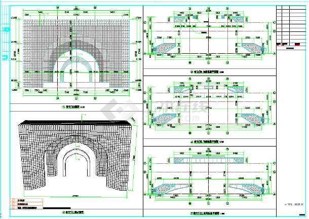 3层半圆形展览馆建筑cad设计施工图(知名设计院)