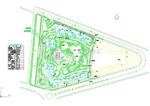 住宅小区景观绿化小广场带亲水平台设计施工cad总布置图图片1