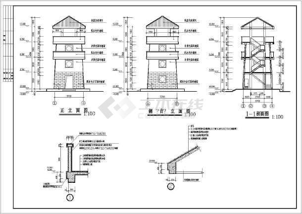 了望塔全套施工图cad图纸(含建筑,结构,水电)