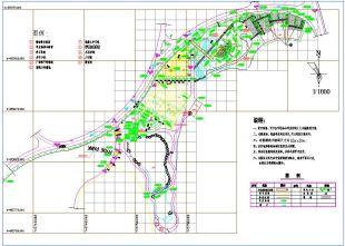 官方平面带状设计绿化cad公园布置图(带停车路迅捷cad破解景观版转换器图片