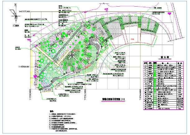 景观教程平面制图绿化cad公园布置图(带停车路2014cad初学设计带状图片