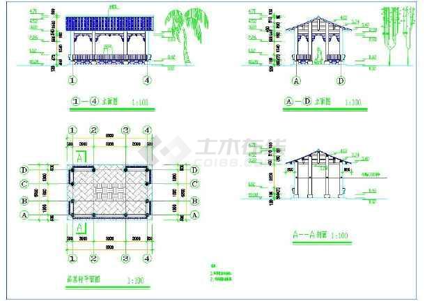 公园景观平面绿化设计cad冠脉布置图(带停车路带状cad图片