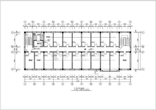 大学三层宿舍楼底层食堂建筑设计施工cad平立面布置图纸