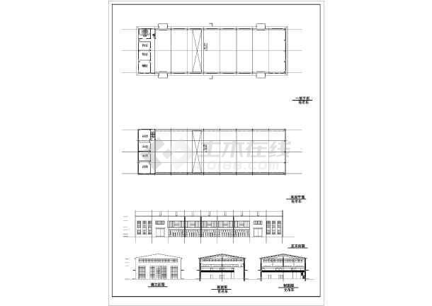 14米高两层厂房带夹层吊车施工设计cad平面布置图纸
