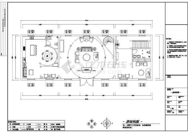 华丽罗马风格长方形户型双层别墅室内装修设计图