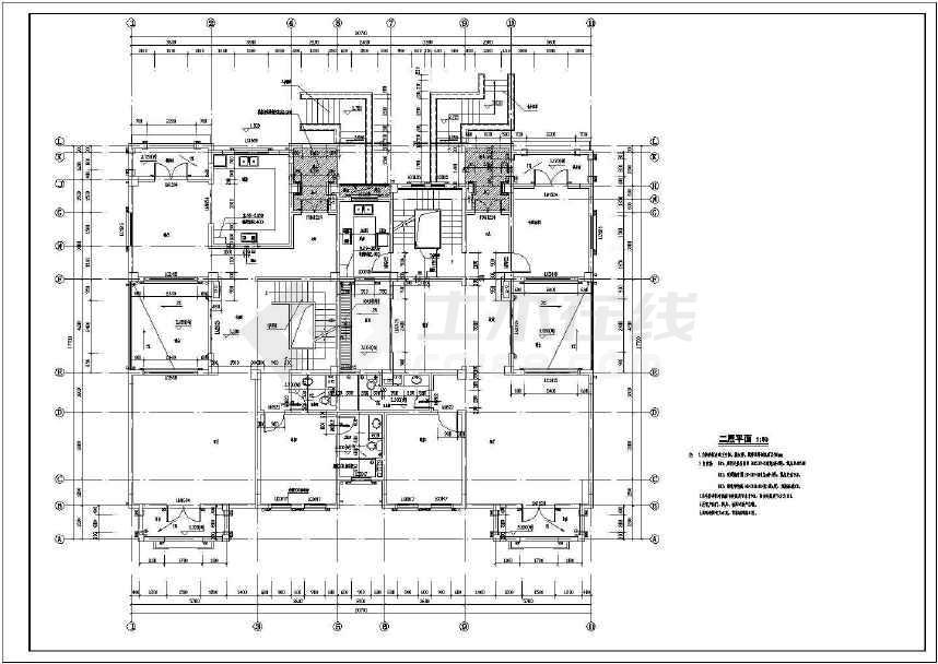 某地三层双拼别墅施工图(含建结水电)-图1