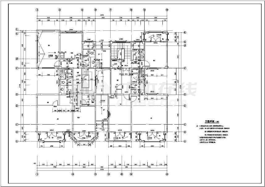 某地三层双拼别墅施工图(含建结水电)-图2