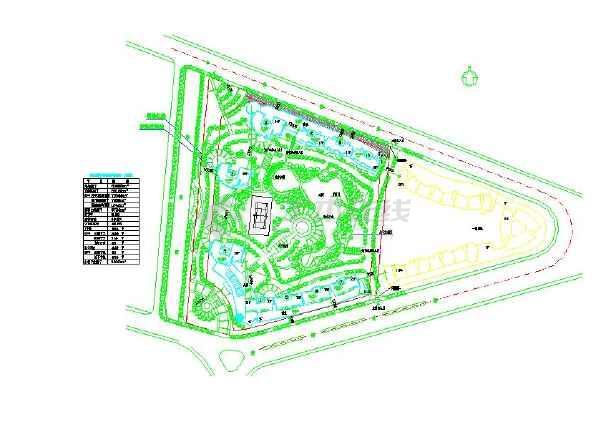 小型的居住组团园林景观设计总平面图(标注详细)