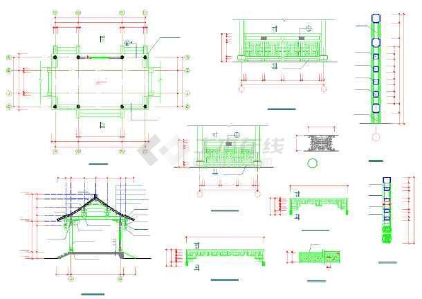 园林古建木结构长廊及转角凉亭施工图