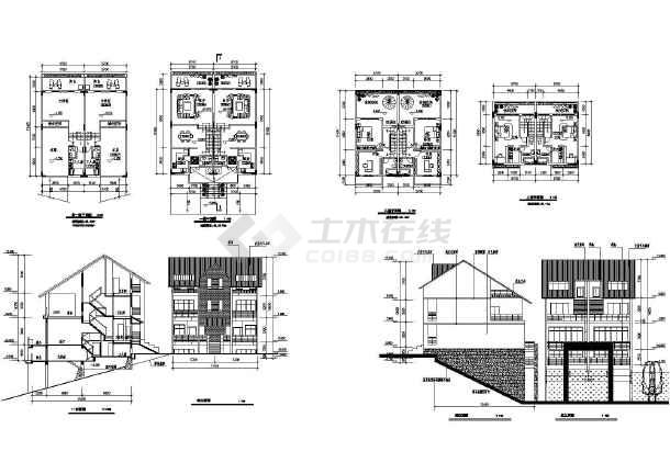 38套现代风格双拼别墅设计cad图(含二层别墅设计、三层别墅设计)-图1