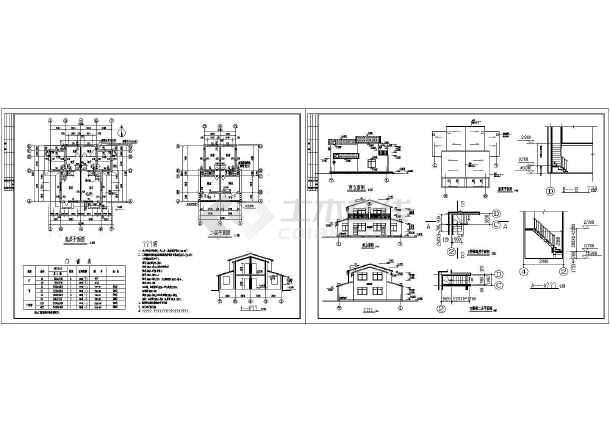 38套现代风格双拼别墅设计cad图(含二层别墅设计、三层别墅设计)-图2
