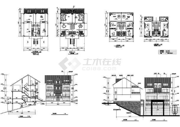 38套现代风格双拼别墅设计cad图(含二层别墅设计、三层别墅设计)-图3