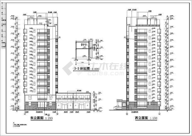 某居住住宅小区小高层住宅建筑设计CAD施工三联平面设计邀请函图片