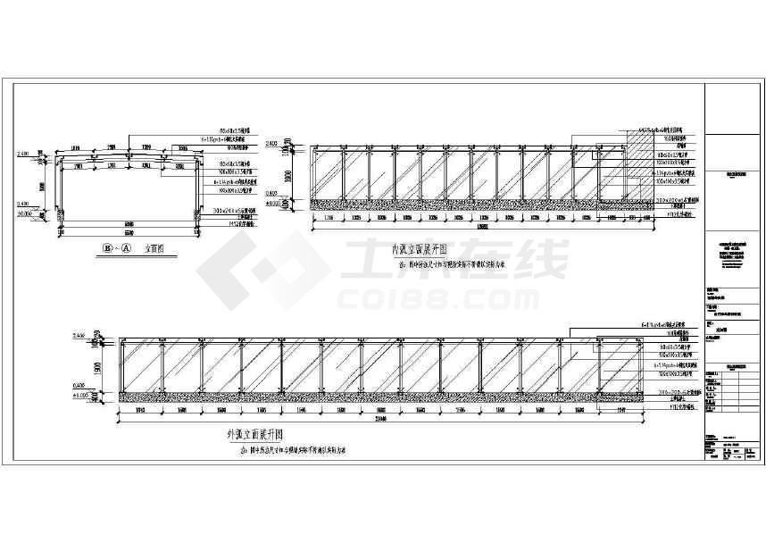 半地下室车库钢结构自行车雨棚设计cad方案图下载 土木在线图片