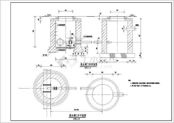 供水,分水井,排水井,排气井,水表井设计cad图纸图片