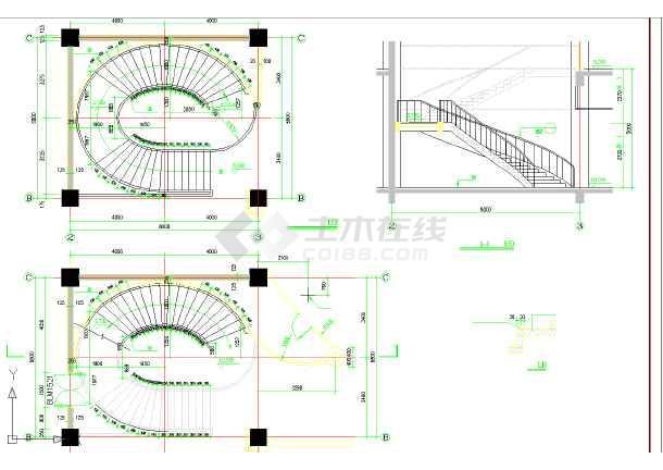 某地区椭圆形状楼梯详细cad图纸