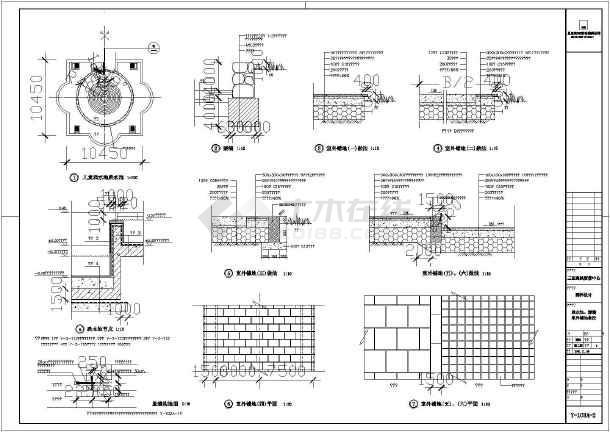 园林设计跌水池,矮墙,室外铺地做法图