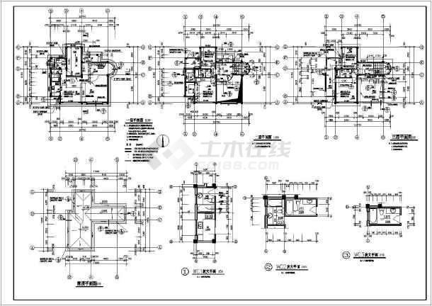某中式古典多层别墅建筑设计平面图图片