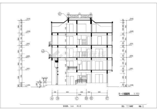 全套建筑设计施工图,内容包括:二层平面图,屋顶平面图,东立面图等图纸