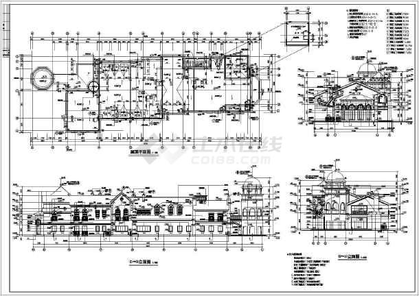 某地区大型欧式商业街商铺建筑设计施工图图片