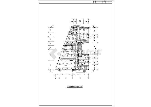 江苏某地区办公楼给排水设计cad施工图-图1