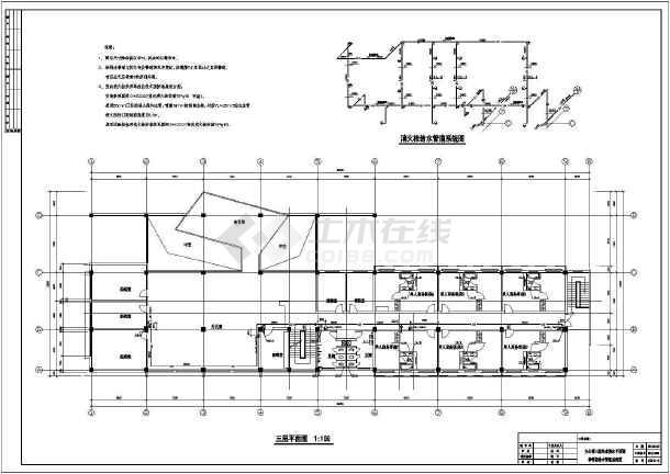 常州某地区三层办公楼给排水设计cad图纸-图2