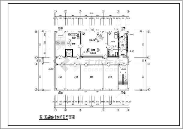 河南某地区某办公楼给排水设计cad施工图-图3