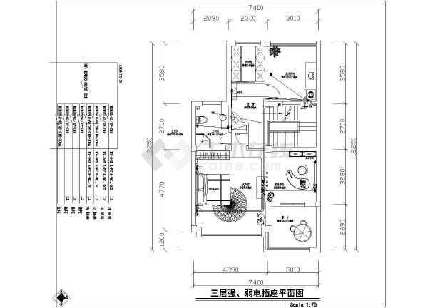 带棋牌室舒适三层自建房屋装修详细建筑设计图-图七