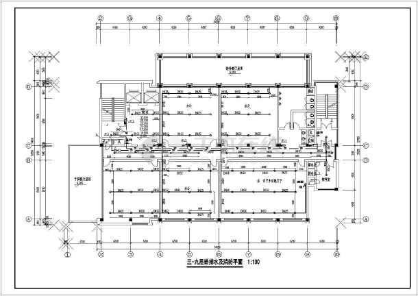 杭州某地区办公楼的给排水设计cad图纸-图3