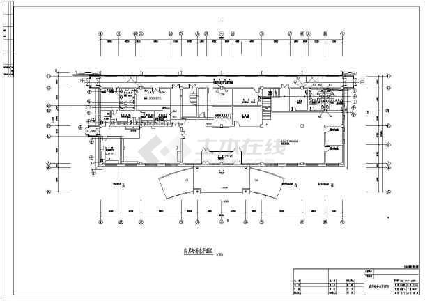 江苏某地区办公楼给排水设计cad图纸-图2