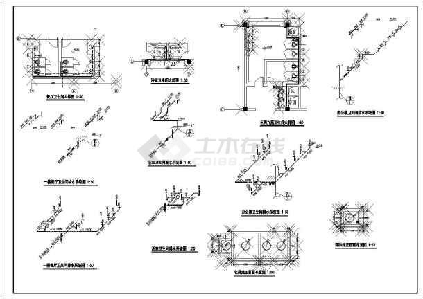浙江某9层办公楼给排水详细设计cad图纸-图1