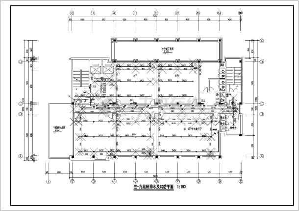 浙江某9层办公楼给排水详细设计cad图纸-图2