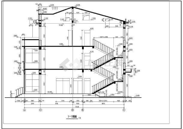 框架坡屋顶三层自建房屋建筑设计图
