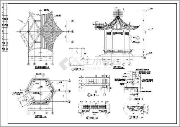 一整套混凝土凉亭建筑结构图纸
