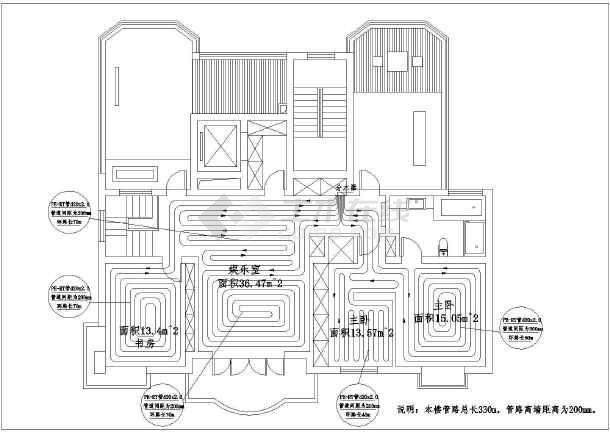 上海某地区复式楼地板采暖设计cad平面图图片