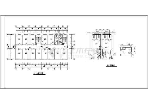 某地区多层办公楼给排水施工CAD图-图1