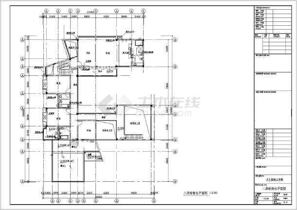 某地区独立别墅给排水CAD施工图-图1
