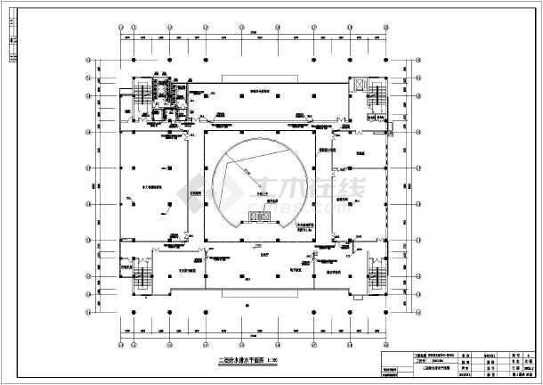 某地区文化中心图书馆给排水CAD施工图-图1