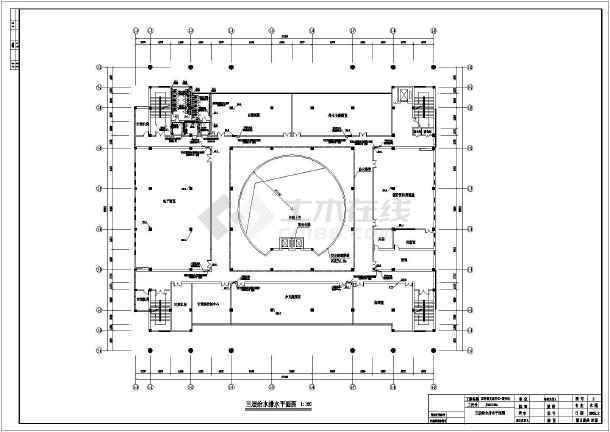 某地区文化中心图书馆给排水CAD施工图-图2