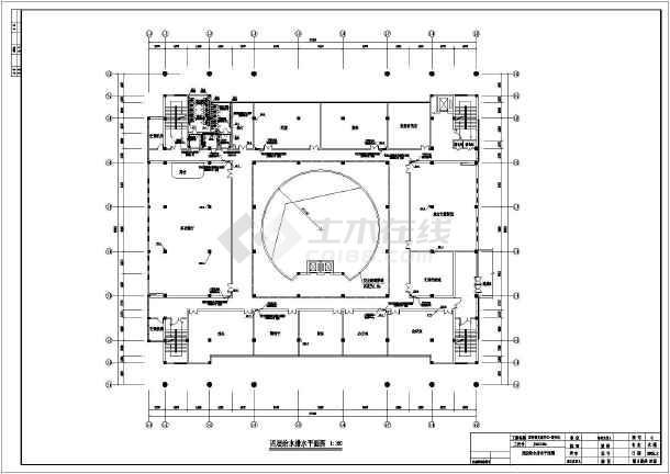 某地区文化中心图书馆给排水CAD施工图-图3
